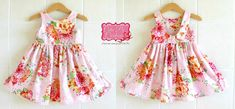 ****Pink Floral Dress - girls dress, girls summer dress, pink dress, party dress, tea party dress, flower girl dress, toddler dress, baby dress****   This Gorgeous Floral Tea Party Dress features little a fully lined bodice, a full twirly skirt with heart applique , a scoop back with