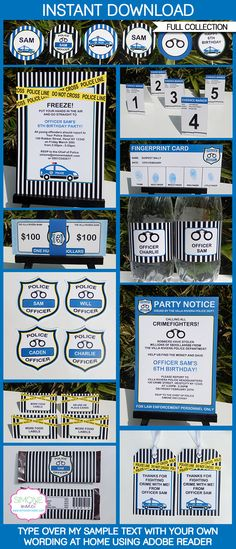 Instantly download my Police Party Printables!  Personalize these templates easily at home & get your Police Birthday Party started now!
