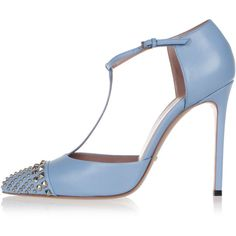 Gucci Studded T-straps Pump MALAGA KID Heel 12 cm (565 SGD) ❤ liked on Polyvore featuring shoes, pumps, blue, gucci shoes, stilettos shoes, leather pumps, stiletto pumps and gucci pumps