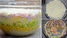 Layered salad with celery and pineapple - Salat Celery Salad, Pasta, Mayonnaise, Pina Colada, Pineapple, Oatmeal, Salads, Tacos, Food And Drink