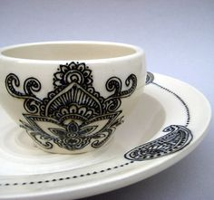 Henna Design Chip and Dip Set Bowl and Plate by alinahayesceramics, $148.00