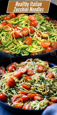 Love zucchini noodles that are healthy and keto? This vegetarian Zucchini Noodles Italian Style-Garlic, Tomato & Parmesan is so good, you won't miss any of the starchy pasta! Zucchini Noodle Recipes, Vegetable Recipes, Vegetarian Recipes, Zucchini Spirals Recipes, Vegan Zoodle Recipes, Chicken Recipes, Low Carb Recipes, Cooking Recipes, Healthy Recipes