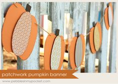 3 ovals, 1 small rectangle piece, string & 3D squares = beautiful pumpkin banner
