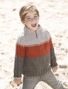 Woolen Sweater Design, Men Sweater, Jumper Patterns, Knitting Patterns Free, Knitting For Kids, Baby Knitting, Pull Jacquard, Pull Bebe, Knit Baby Dress