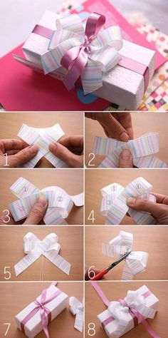 DIY Gift Packaging How to tie ribbon gift box Gift Wrapping Bows, Gift Wraping, Creative Gift Wrapping, Present Wrapping, Gift Bows, Christmas Gift Wrapping, Creative Gifts, Xmas Gifts, Gift Wrapping Techniques