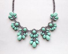 Mint Crystal Flower Statement Necklace - Designer Inspired