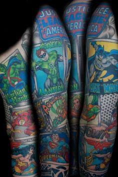Justice League sleeve tattoo