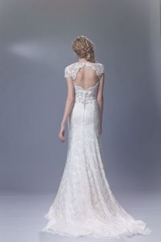 Ivory Lace Wedding Dress | ... amelia romantic ivory lace wedding dress cap sleeves 2011 front