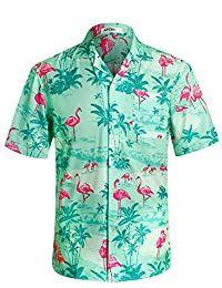Men's Hawaiian Shirt Short Sleeve 4 Way Stretch Beach Party Aloha Shirts Oversized Fashion, Flamingo Beach, Mens Hawaiian Shirts, Denim Jacket Men, Aloha Shirt, Stretch Shorts, Party Shirts, Patterned Shorts, Style