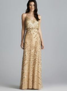 Adrianna Papell Cross Back Long Gold Sequined Blouson Dress