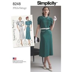 Misses' vintage 1930s afternoon or street dress features short puffed sleeves and Peter Pan collar that is banded across the front and can be trimmed with pleating. View B is gathered below the yoke, and has two pockets on skirt. Vintage Simplicity sewing pattern.