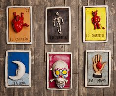Loteria Placards   Large. Unique hand molded ceramic wall art that is inspired by the old world card game known as Loteria. This old world game originated in Italy in the 15th century and was later brought to Mexico in 1769. Available in 2 sizes small $79   large $119 and a variety of styles!