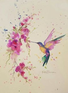 Kolibri mit Blumen – Zeichnen/Malen, Tattoos… – Hummingbird with flowers – drawing / painting, tattoos … – draw, to paint Watercolor Hummingbird, Hummingbird Art, Watercolor Bird, Watercolor Artists, Watercolor Tattoo, Watercolor Paintings, Watercolors, Painting Art, Hummingbird Illustration