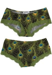 ...Bachelorette party for a Peacock-theme wedding: Peacock Plumage Undies (yes, please!)