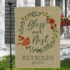 floral welcome personalized garden flag products pinterest