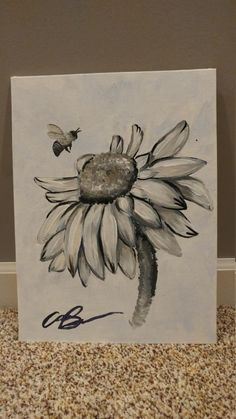 Black and white acrylic painting of a daisy and a bee. On canvas board/canvas panel  9x12 22.9x30.5 cm