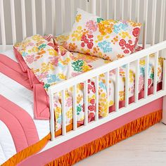 Our Floral Gem Bedding is a vibrant and sunny set. We love the ruche detail on the crib skirt. Also available in crib and kids sizes.