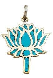Turquoise Lotus Flower Pendant