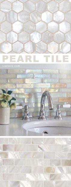 I LOVE pearl tile! Lots of gorgeous tile ideas for kitchen back splashes master bathrooms small bathrooms patios tub surrounds or any room of the house!
