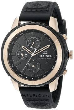 Tommy Hilfiger Men's 1791195 Casual Sport Analog Display Quartz Black Watch >>> To view further for this item, visit the image link. (This is an Amazon Affiliate link and I receive a commission for the sales)