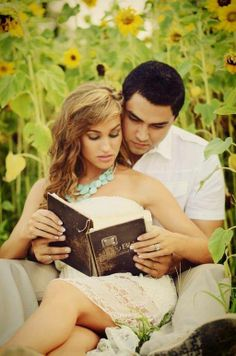 Engagement session with the Bible.