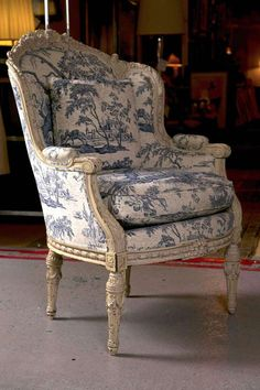 View this item and discover similar wingback chairs for sale at - An exceptional-quality antique French Louis XVI style wingback bergere chair, dated from the late to early century, the original off-white distress antiques furniture Victorian Furniture, French Furniture, Shabby Chic Furniture, Home Furniture, Furniture Design, Modern Furniture, Vintage Furniture, Outdoor Furniture, French Home Decor
