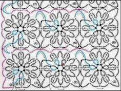 Как вязать по этой схеме? Это схема вязания крючком отдельных фрагментов без отрыва нити. Голубой цвет на схеме обозначает начало фрагмента, розовый - его за...