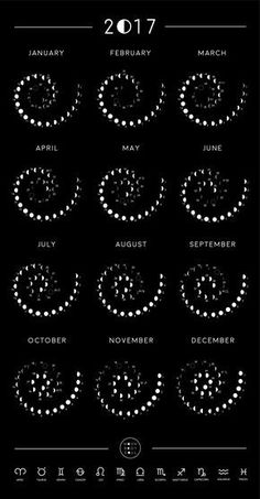 2017 Moon Phase Calendar - Become even more attune to the Moon with our 2017 Lunar Cycle Calendar! Watch the phases as she waxes and wanes everyday in a beautiful spiral. Know exactly when she is Full or New & what astrological sign she is rising in, as noted next to the day. Moon Calendar available at MoonBodySoul.com