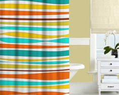 Colorful Shower Curtain Turquoise Orange by DesignbyJuliaBars