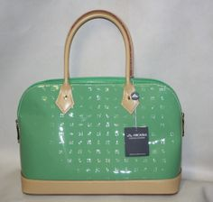 Arcadia LARGE Bag Soft Green Prato PATENT COLOR Beige handles  leather purse NEW