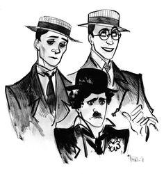 The golden three!!  Buster keaton Harold Lloyd and Charlie Chaplin.