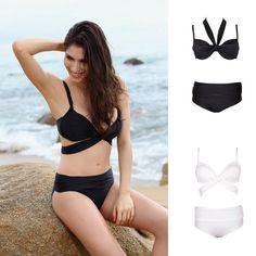 615810baf78dc 6.99 Sexy Women Bandage Solid Swimwear Swimsuit Bra Push Up Bikini Set  Top amp Bottom