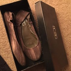 BCBG PL-Magie flats An army green color with distressed look! BCBG Shoes Flats & Loafers