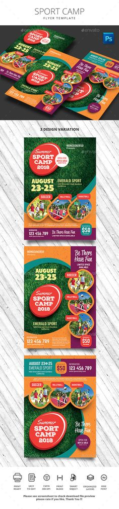 Buy Sport Camp Flyer by monggokerso on GraphicRiver. Sport Camp Flyer File Features : Size + Bleed area CMYK / 300 dpi Easy to edit text Well organized PSD f. Free Flyer Templates, Print Templates, Boys Camp, Sports Flyer, Flyer Design Inspiration, Holiday Invitations, Event Flyers, Concert Hall, Art Festival