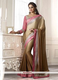 Tempting Beige Color Zari And Lace Work Party Wear Saree