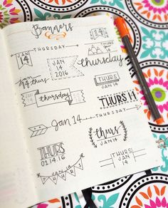 Banner ideas for bullet journals