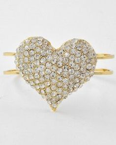 Amazon.com: Goldtone Heart Bangle Hinged Bracelet with rhinestones & crystal by Jersey Bling: Jewelry