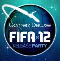 Voorkant van de Flyer voor Gamerz DeLuxe van FiFA 12 Release Party