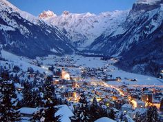 Lovely Engelberg, Switzerland blanketed in snow - it looked like a twinkling Christmas village when I was there