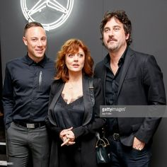 US actress Susan Sarandon with her son Miles Robbins and Bryn Mooser attend the mbcollective Fashion Story - Chapter Two Global Launch at Soho House on July 2017 in Berlin, Germany. Get premium, high resolution news photos at Getty Images Us Actress, Susan Sarandon, Launch Party, Fashion Story, Sons, Product Launch, Actresses, Movie Posters, Female Actresses