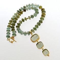 #1 Lissone II Necklace - Moss Aquamarine Venetian Triple Intaglio Pendant