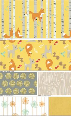 Good Natured Yellow Color Way Riley Blake Woodland 100% cotton Fabric designed by Marin Sutton