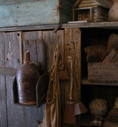 Primitive wood wall shelf in grungy paint. Sweet Liberty Homestead primitives