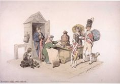 This 1808 image of an old vendor woman selling salopin London seems simple at first glance. Created byWilliam H Pyne for The Costumes of Great Britain