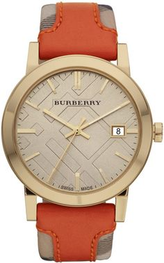 Burberry Mens Watch with Haymarket Check Orange Leather Strap in Orange  (brown)  a895a2c0812d