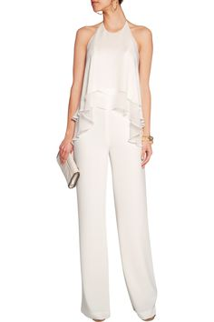 Elizabeth and JamesBaldwin layered silk-georgette and crepe jumpsuitfront
