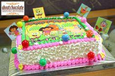 Two Tier Buttercream Cake dora | Dora-Spongebob Cake with edible « Momizi