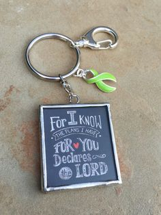 Lime Green Ribbon Keychain / Bible Verse / Lime Disease Awareness / Lymphoma Survivor / Non-Hodgkin's lymphoma Gift by RockYourCauseJewelry on Etsy