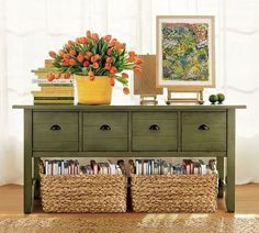 If brighter color notes aren't your thing, moodier olive tones work incredibly well on furniture.  Source