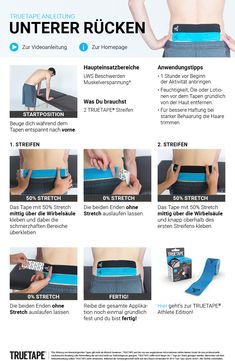 Lower Back Kinesiotape Instructions Kinesio Tape, Kinesiology Taping, Six Pack Abs Men, Health And Wellness, Health Fitness, Massage Tips, Athletic Training, Diet Meal Plans, Easy Workouts